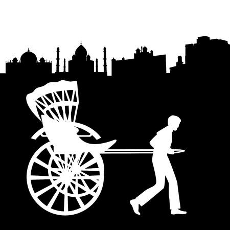 carries: Un uomo porta un vagone passeggeri. Illustrazione in bianco e nero su uno sfondo bianco. Vettoriali