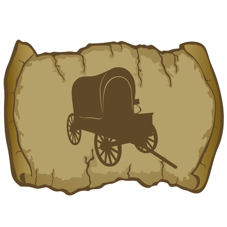 tarpaulin: Antique vehicle on a background of parchment  The illustration on a white background
