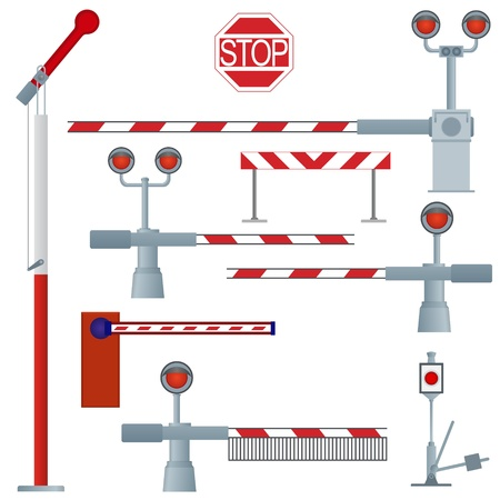 A set of railway gates  The illustration on a white background  Vector