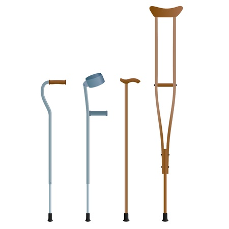 crutches: Crutches for the movement of people with broken legs  The illustration on a white background  Illustration