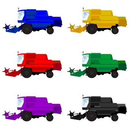 combinar: De maquinaria agrícola de varios colores cosechadoras La ilustración sobre un fondo blanco
