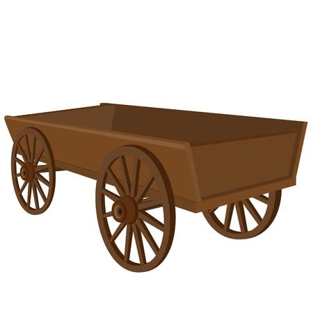 carreta madera: Veh�culo antiguo. La ilustraci�n en un fondo blanco.