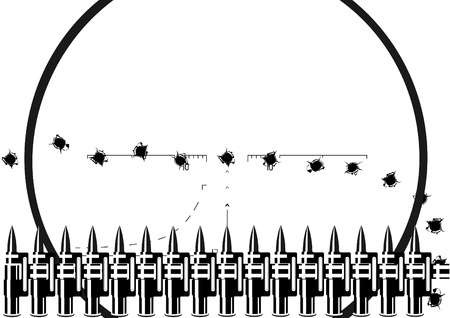 black hole: Machine-gun belt and bullet holes on the background of a sniper scope. Black and white illustration.