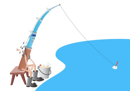 Abstract rod with buckets and catch at the lake  The illustration on a white background Stock Vector - 14652462