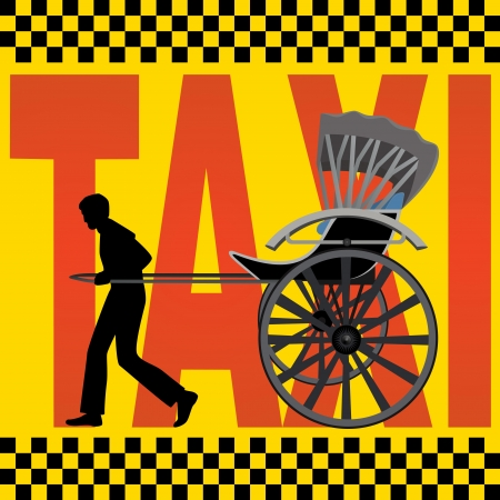 carting: A man carries a passenger carriage on the background of the inscription,  Taxi
