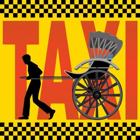 carries: Un uomo porta una carrozza passeggeri sullo sfondo della scritta, Taxi Vettoriali