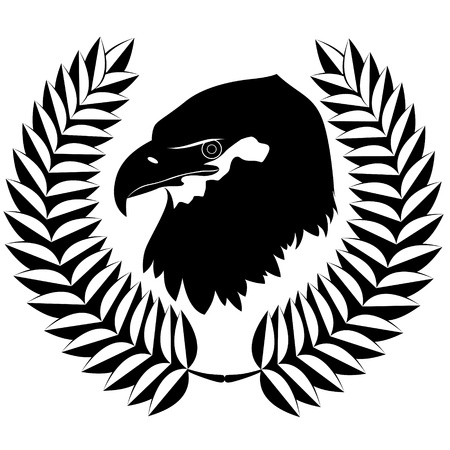 black beak: The head of an eagle and olive wreath. The illustration on a white background.