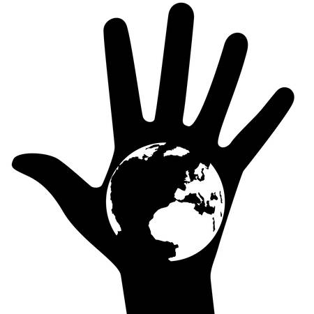 The globe on the background of the human hand. The illustration on a white background. Vector