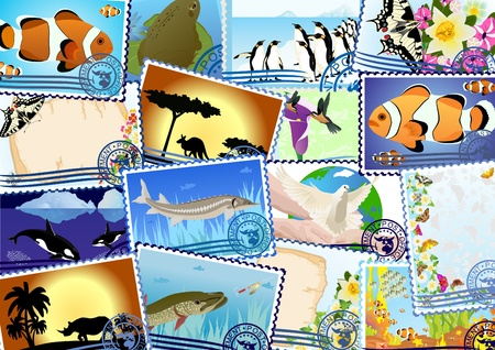 Postage stamps depicting the flora and fauna Vector