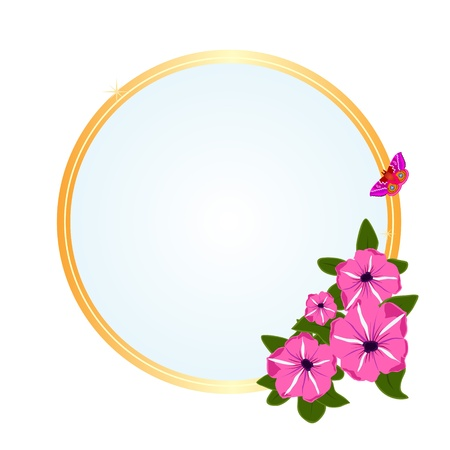 Frame with a bouquet of flowers and flying butterflies. The illustration on a white background. Stock Vector - 14786595