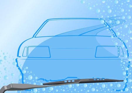 windshield wiper: Automotive windshield wiper on the glass with drops of water, roads and abstract vehicle Illustration
