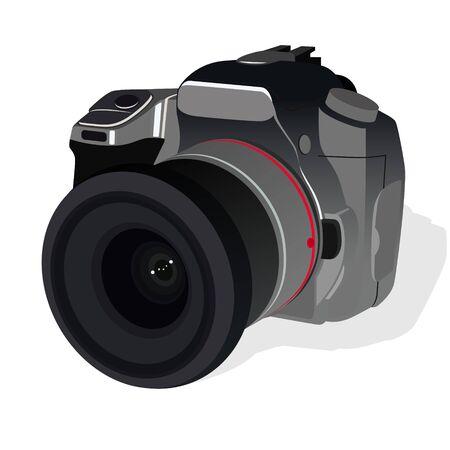 reflex camera: The modern reflex camera. The illustration on a white background. Illustration