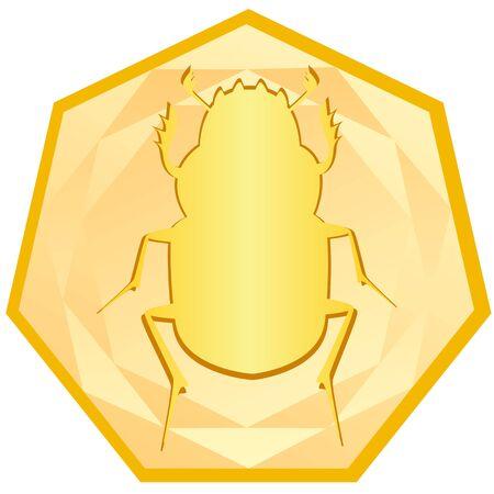 scarabeo: Oro Beetle - Scarab nella cornice L'illustrazione su uno sfondo bianco Vettoriali