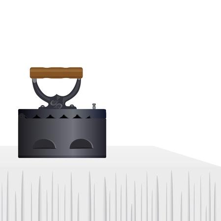gusseisen: Vintage Eisen auf dem wei�en Tischtuch Die Illustration auf einem wei�en Hintergrund Illustration