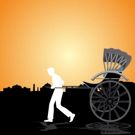 carries: Un uomo porta una carrozza passeggeri sullo sfondo del circuito