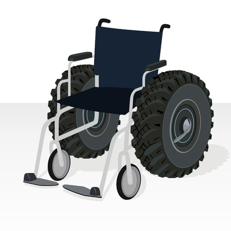 Wheelchair with the wheels of the tractor wheel  Comic illustration  Black and white illustration  Vector