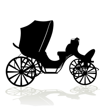 Antique vehicle. Black and white illustration on a white background.