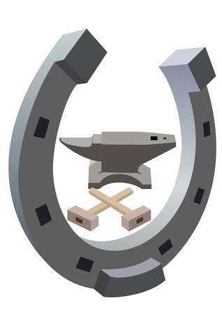 gusseisen: Amboss, Hammer und ein Hufeisen. Die Abbildung auf einem wei�en Hintergrund.