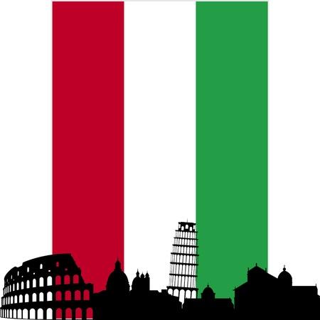 italy flag: Bandera Nacional y el contorno de los edificios y estructuras arquitectónicas. La ilustración en un fondo blanco.