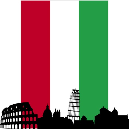 flag of italy: National Flag and the outline of buildings and architectural structures. The illustration on a white background.