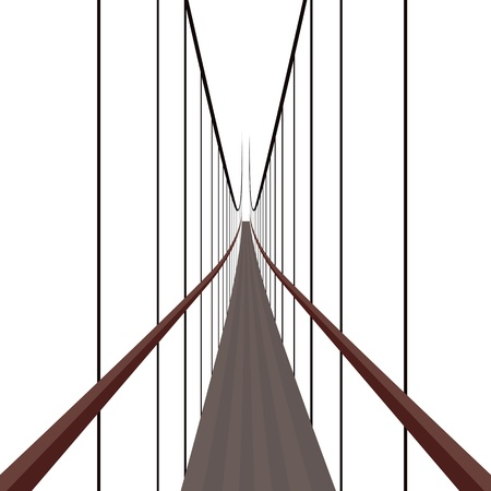 suspension bridge: Suspension Bridge on the ropes. The illustration on a white background.