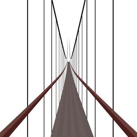 rope bridge: Suspension Bridge on the ropes. The illustration on a white background.