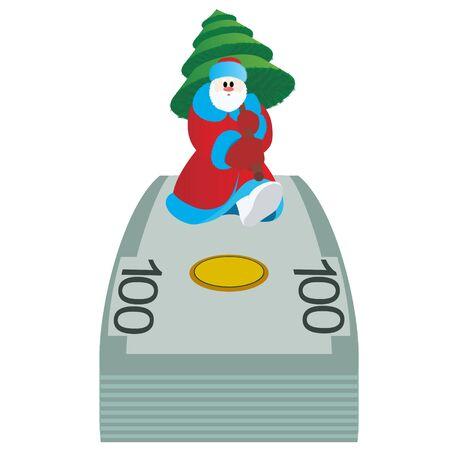 one year old: Pap� Noel con un �rbol de Navidad es un paquete de billetes de banco