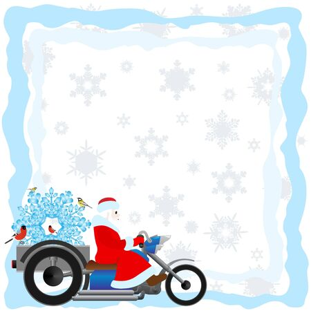 Santa Claus on a motorcycle on a background of falling snowflakes  The illustration on a white background  Stock Vector - 15214790