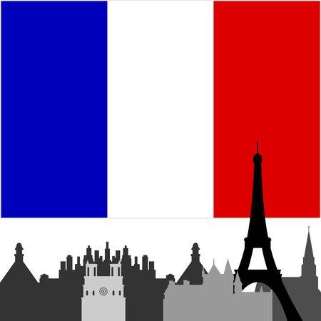 白い背景の上の図は、構造の国旗と建物と建築の概要