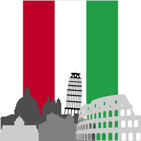 National Flag and the outline of buildings and architectural structures  The illustration on a white background  Vector