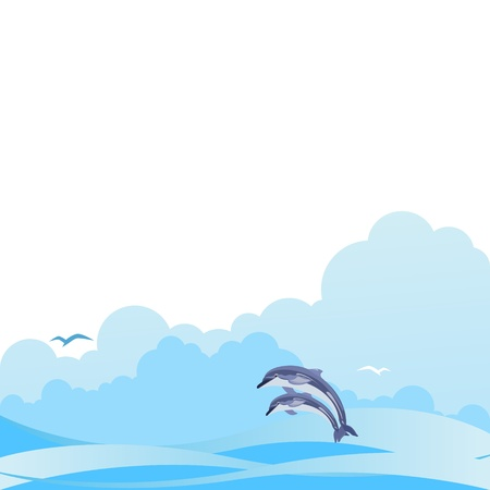 occupant: Two dolphins in the ocean against the backdrop of clouds