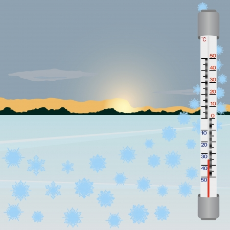 celsius: Thermometer against the winter landscape  The illustration on a white background
