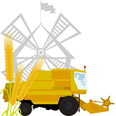 Spikes of wheat and combine harvester on the background of the mill. The illustration on a white background. Stock Vector - 15116694