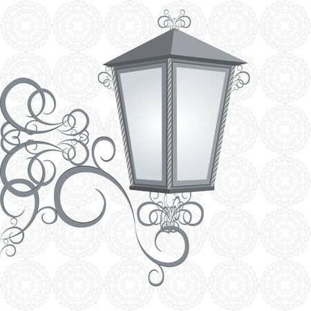 fixture: Old street lamp on the decorative fixture  Illustration on black and white background