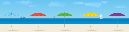 Summer beach  Parasols on the background of the sea  Vector
