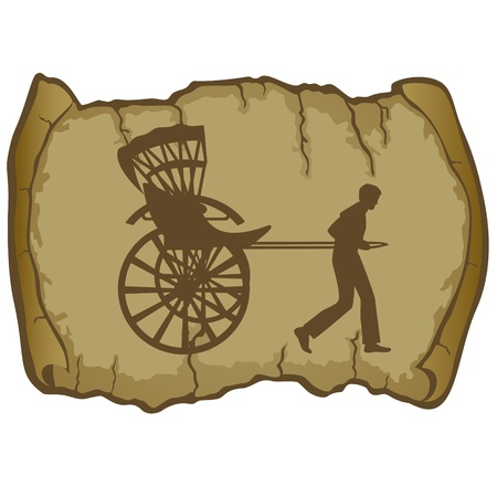 carting: A man carries a passenger carriage on the background of old parchment  The illustration on a white background  Illustration