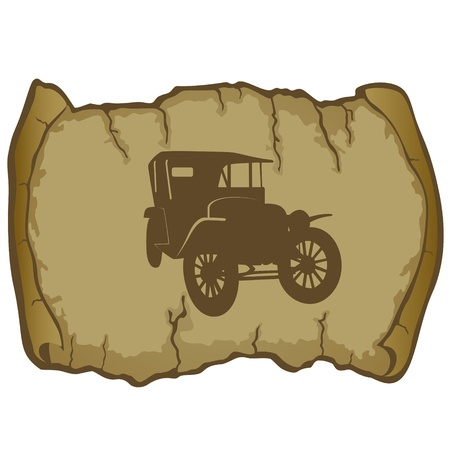 vellum: Antique vehicle on a background of parchment  The illustration on a white background