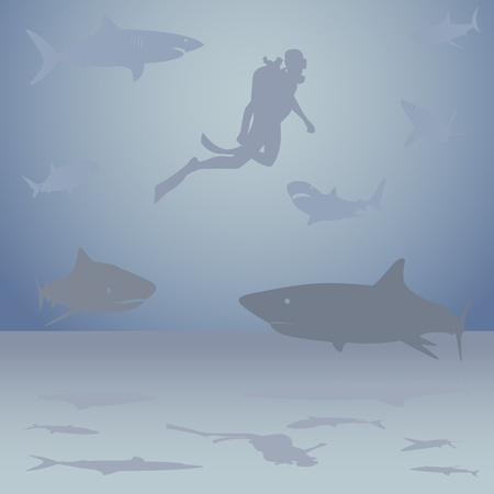 fixtures: Diver swims in a sea of sharks. Contour illustration.
