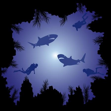 stein schwarz: Taucher und Haie schwimmen im Meer zwischen den Felsen