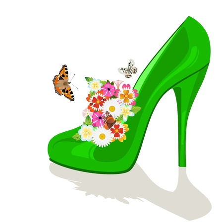 Bouquet of flowers in the womens shoe and flying butterflies. The illustration on a white background. Vector
