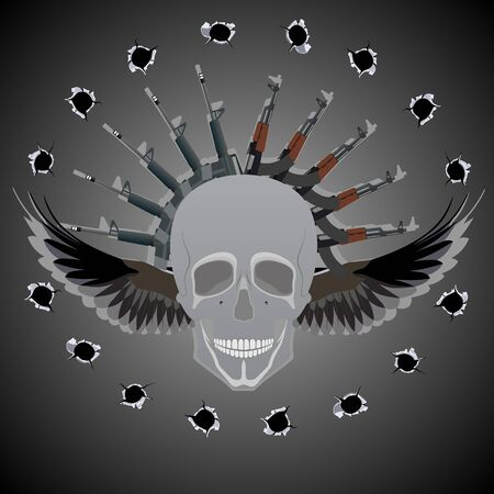 Human skull with wings on the background of abstract automatic weapons and bullet holes  Vector
