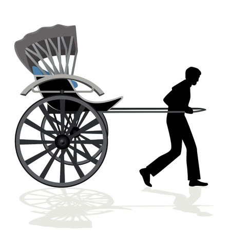 rickshaw: A man carries a passenger wagon  The illustration on a white background