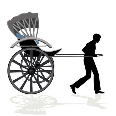 rikscha: Ein Mann trägt einen Personenwagen der Abbildung auf einem weißen Hintergrund Illustration