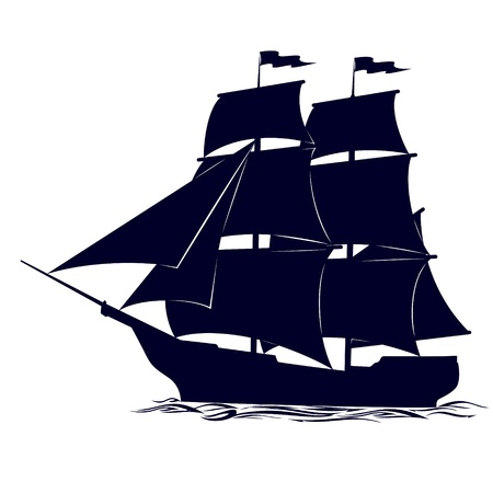 Old sailing ship. Illustration on white background. Vector