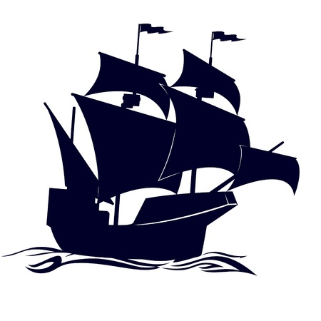 old boat: Old sailing ship. Illustration on white background.