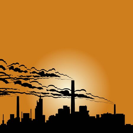 Circuit of industrial buildings and smoking chimneys against the setting sun. Vector