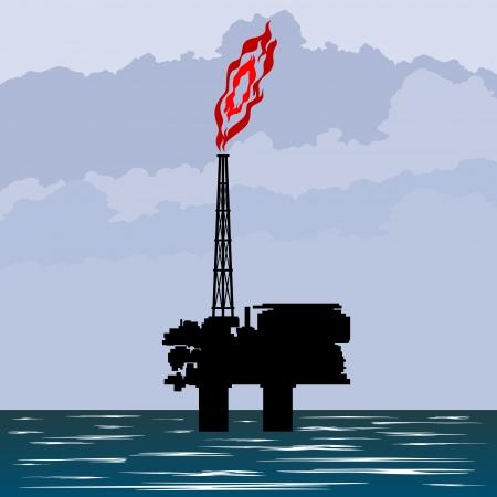 industria petrolera: Circuito funciona de la industria petrolera. Ilustraci�n en la extracci�n y procesamiento de recursos naturales. Vectores