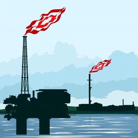 ressources naturelles: Circuit fonctionne l'industrie p�troli�re. Illustration sur l'extraction et la transformation des ressources naturelles. Illustration