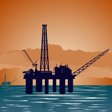 paesaggio mare: Circuito funziona l'industria del petrolio. Illustrazione su l'estrazione e trasformazione delle risorse naturali.