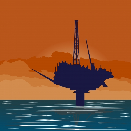 Circuit works the oil industry. Illustration on the extraction and processing of natural resources. Vector